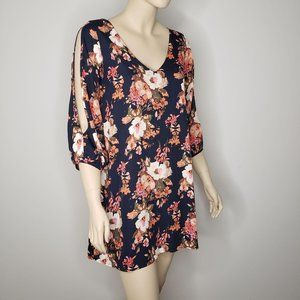 Lulus Shifting Dears Floral Dress Slit Sleeve